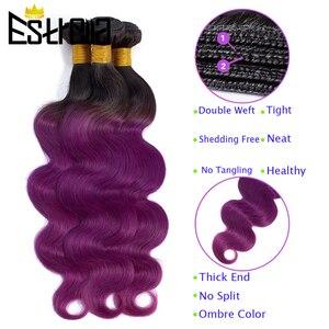 Волнистые пряди с закрытием, цвет Омбре, T1B 27/красный/33/фиолетовый, пряди с закрытием, монгольские 100% Remy человеческие волосы для наращивания