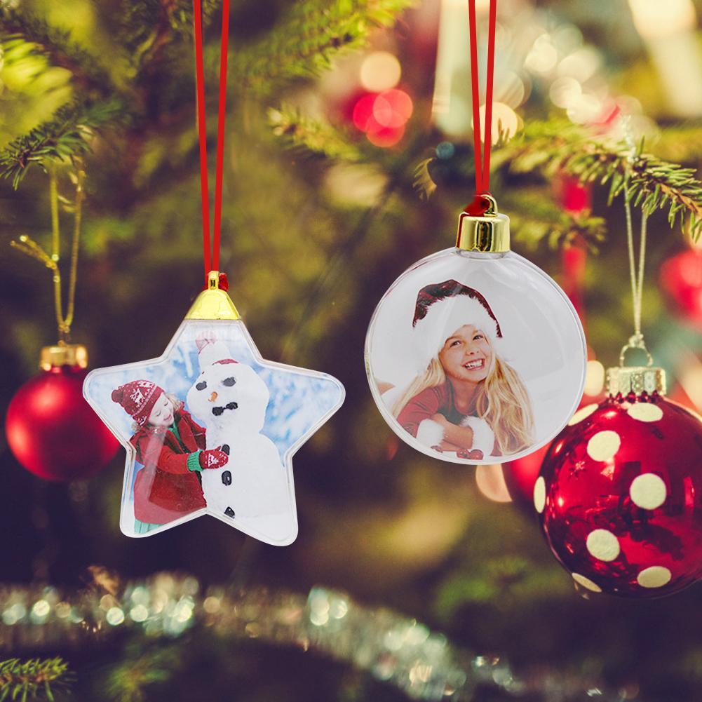 Рождественские прозрачные пластиковые фото пятиконечные шары рождественские украшения X-mas Дерево подвесной Декор для дома DIY вечерние под...