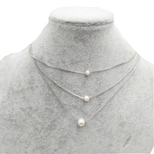 цена на Multilayered Freshwater Pearl Pendant Necklace For Women Girls Copper Floating Pearl Clavicle Chain Necklace Elegant Jewelry