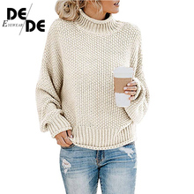 Women Oversize Solid Knitted Sweaters Warm Long Sleeve Pullover Sweater Black Casual Loose Autumn Winter Turtleneck