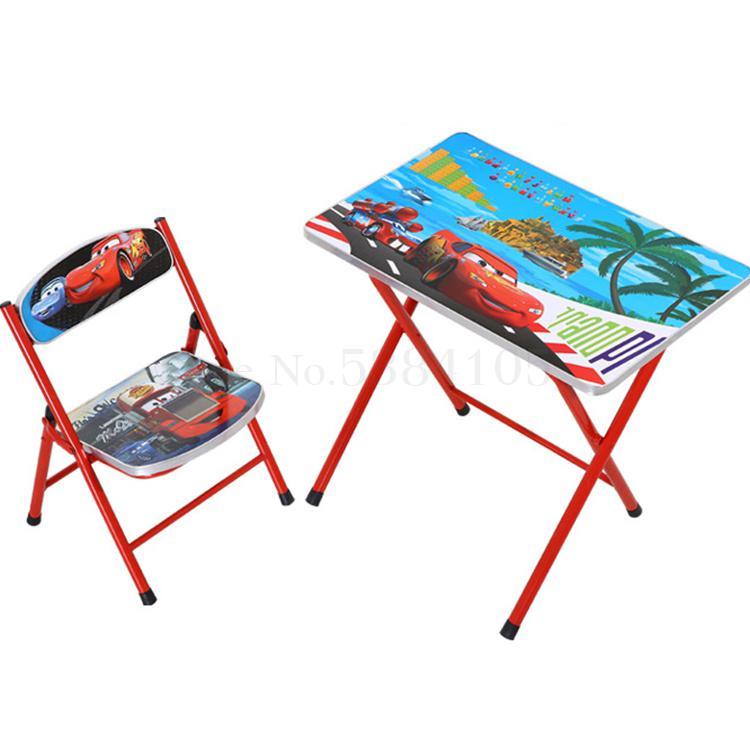 Us 58 19 25 Off Cartoon Kindergarten Pupils Children Folding Study Desk And Chair Set Table To Drop On Aliexpress