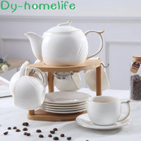 Nordic Pure White Gold Variety Matching Ceramic Coffee Tea Set Restaurant Household Candle Holder Tray Coffee Pot Cup Water Set