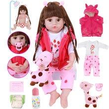 56cm corpo de silicone cheio macio reborn bebê boneca brinquedos vinil princesa criança bebês menina com girafa boneca realista vivo bebe