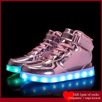 Rozmiar 25-39Kids Led USB ładowania świecące buty dziecięce hak buty z pętelkami świecące tenisówki dla dzieci dzieci Led świecące buty tanie i dobre opinie Arc month 13-24m 25-36m 3-6y 7-12y 12 + y CN (pochodzenie) CZTERY PORY ROKU Unisex Skóra bydlęca COTTON Dobrze pasuje do rozmiaru wybierz swój normalny rozmiar