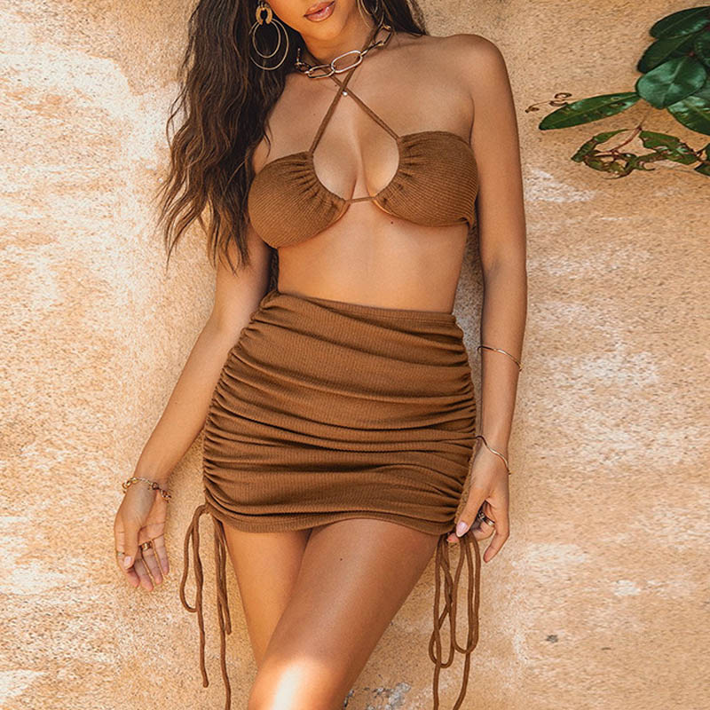 Two Piece Set Women Skirt And Top 2021 Sexy Bodycon Dress Sets Summer Women Outfit Festival Clothing Mini Skirt And Crop Top Set 5