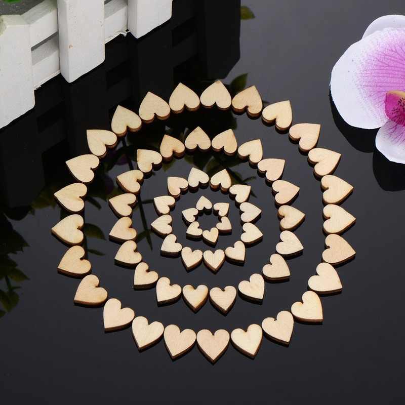 200/100/50 pces 6/8/10/12mm 4 tamanhos misturados amor coração forma casamento mesa dispersa decoração rústica de madeira decoração do casamento botões