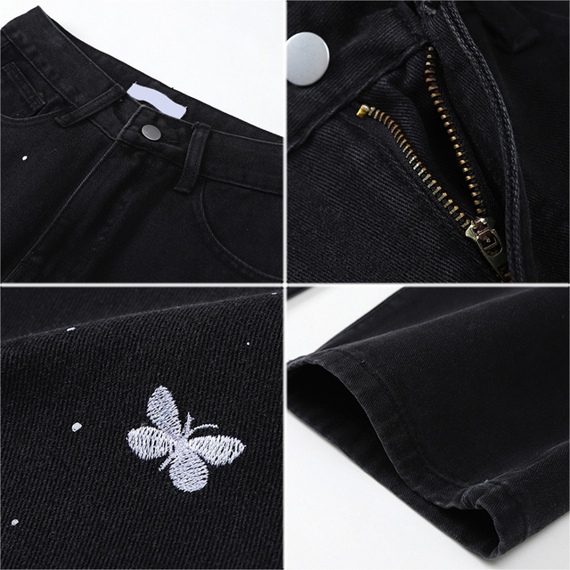Baggy Jeans with butterfly embroidery in black