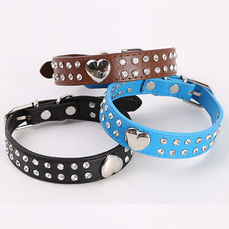 Hot Selling Heart Shape Diamond Set Pet Collar Man-made Diamond Dog Cat Neck Ring Dog Haulage Rope Package Pet Supplies