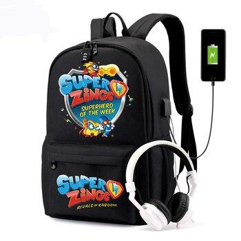 Super Zings Backpacks An-ti Theft Women/Men's USB Charge School Bags Laptop Travel Bags Teenage Notebook Canvas Mochila
