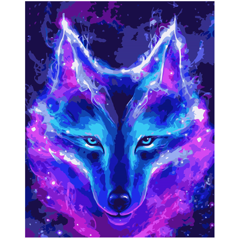 Painting By Numbers DIY Dropshipping 40x50 60x75cm Beautiful Dreamy Blue Wolf Animal Canvas Wedding Decoration Art Picture Gift