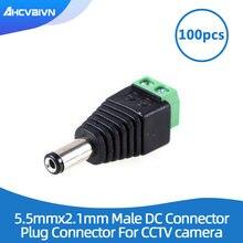 Gran venta 100 Uds DC conector CCTV Cable adaptador de enchufe macho UTP Cámara conector Balun de vídeo 5,5x2,1mm ¡envío gratis!