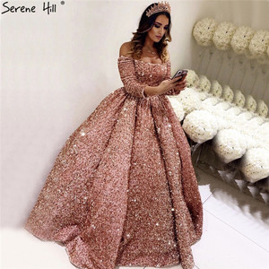 Image 1 - Gül altın lüks uzun kollu düğün elbisesi 2020 Sequins Sparkle High end seksi gelinlikler gerçek resim DHA2304 Custom Made