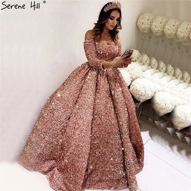 Gül altın lüks uzun kollu düğün elbisesi 2020 Sequins Sparkle High end seksi gelinlikler gerçek resim DHA2304 Custom Made