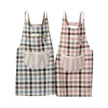 Senyue Japanese cotton  linen fabric Plaid lace round pocket kitchen household cleaning apron thickened Korean smock overalls
