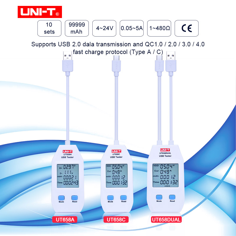UNI-T UT658A/UT658C/UT658DUAL Series USB Power Meter And Tester Digital Meter For Voltage/Current/ Capacity/Energy/Resistance