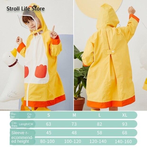 Cute Children Long Rain Coat Jacket Waterproof Suit Storm Thickened Yellow Kids Raincoat Bag Bit Rain Poncho Capa De Chuva Gift 4