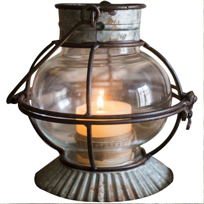 Decorative Lantern Glass Vintage Retro Mini Wind Lamp Candle Lantern