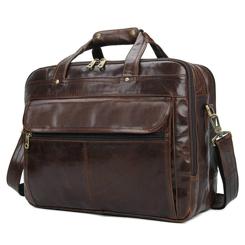 100% Genuine Leather Top Quality Men's Retro Style Briefcase Three-Layer Zip Business 15.6-inch Laptop Bag Briefcase