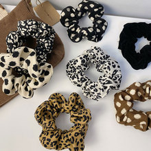 Korea Leopard Striped Fabric Rubber Bands Autumn Winter Women Warm Corduroy Big Hair Scrunchies Vintage Hair Gums For Hair Bands