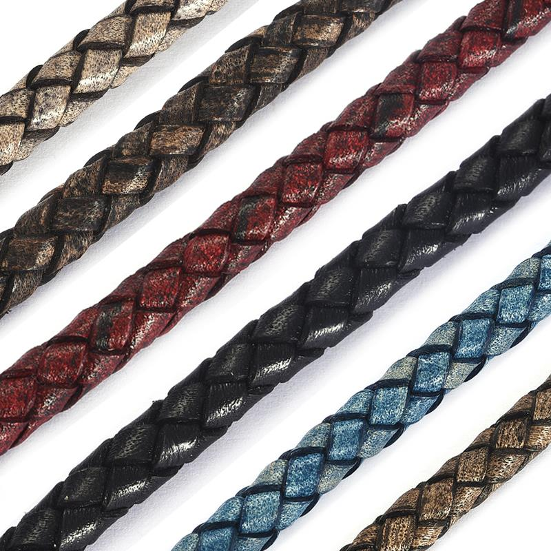 1M 6mm Round Black Braided Genuine Leather Strip Cord String Rope For Bracelet Necklace Jewelry Making 6 Colors