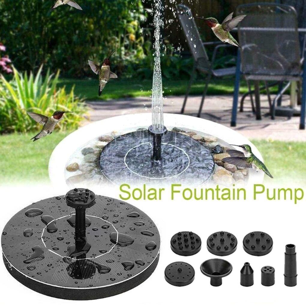 Mini Solar Powered Fountain Garden Pool Pond Solar Panel Floating Fountain Garden Decoration Water Fountain With 4 Nozzles