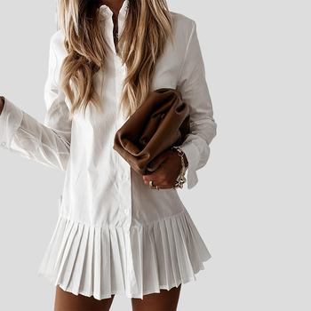 2020 Autumn Long Sleeve White Pleated Shirt Dress Women Turn Down Collar Casual Mini Dress Button Female A Line Office Vestidos spring long sleeve ruffles dress for women solid v neck casual loose mini dress button female autumn a line office vestidos