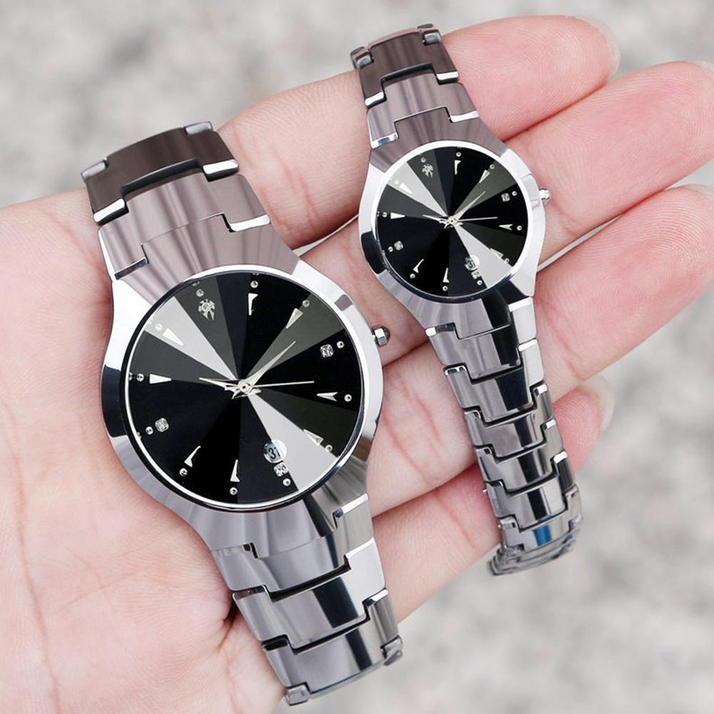 Casual Couple Watch Round Dial Calendar Alloy Linked Strap Analog Quartz Wrist Watch часы унисекс Parejas Couple Gift