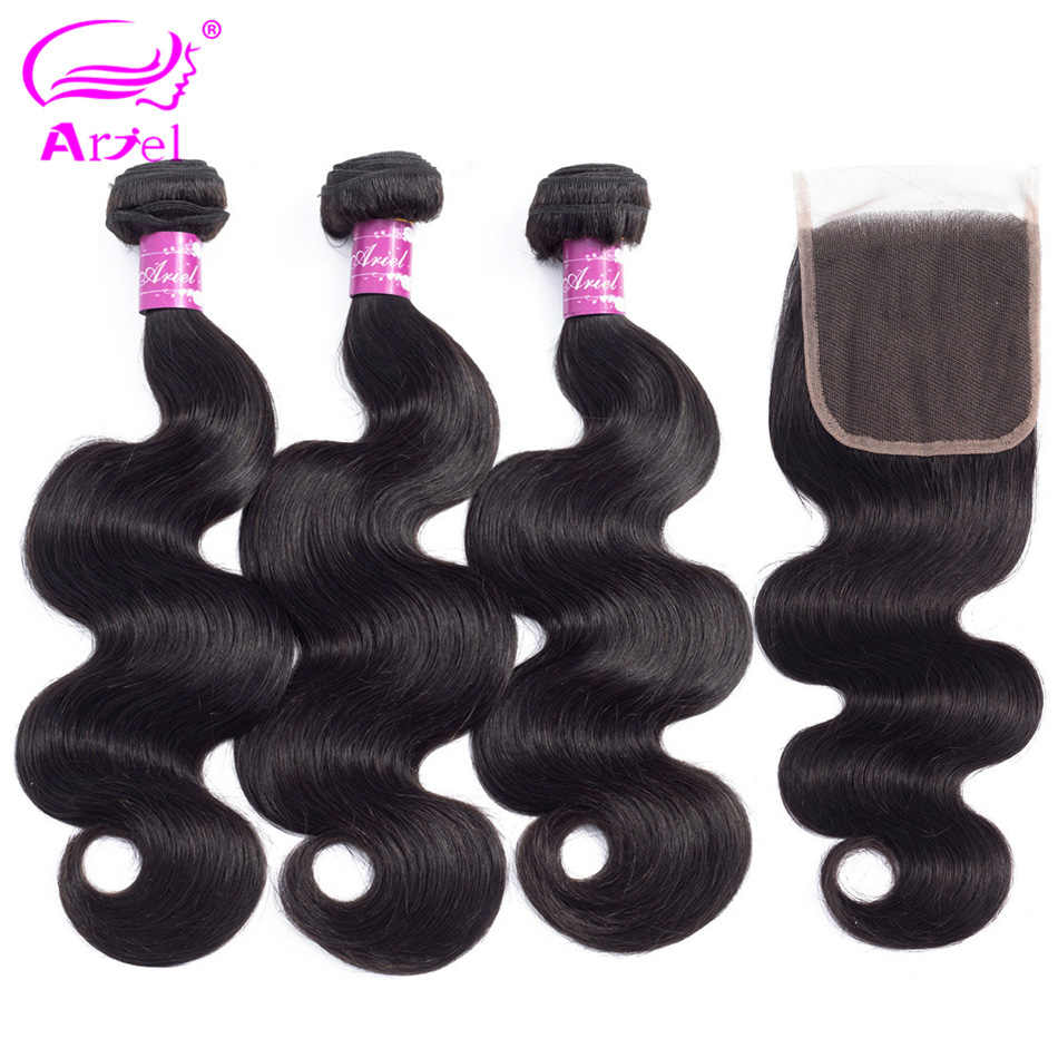 ARIEL Hair Indian Body Wave 3 Bundles With Closure 4*4 Non Remy Hair Weft Weave 2 3 4 Bundles Human Hair Bundles With Closure