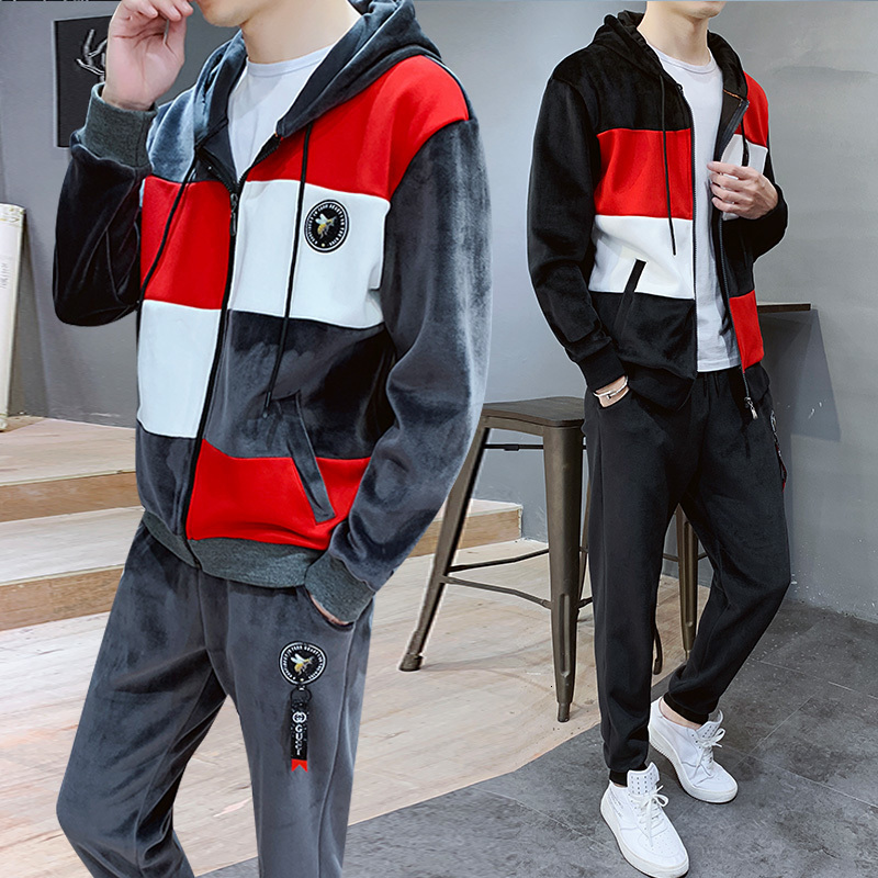 Muske Jakne Sweatshirt Pant 2 Piece Set Suits Streetwear Mens Sets Jackets+Pants Hooded Trainingspak Mannen Tracksuit Men