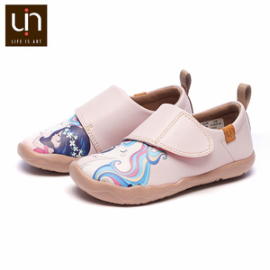 Image 2 - UIN ילדה וunicorn אמנות צבוע ילדים אופנה ורוד נעלי מיקרופייבר עור סניקרס עבור בנות/בני נוחות נעלי סתיו /אביב
