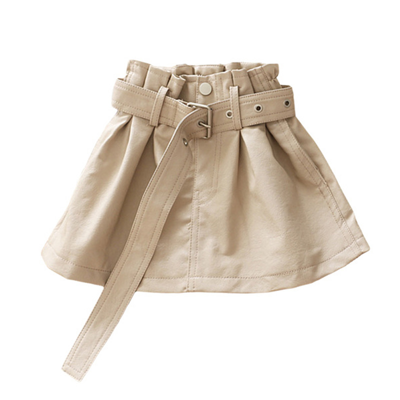 Babyinstar New Arrival Leather Skirts For Girl Kids Outfit Bottoms School Skirt Children Clothing Thick Girls Skirts With Belt