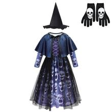 Girls Horror Skeleton Printed Vampires Dress Long Sleeves Halloween Cosplay Costume Ghost Skull