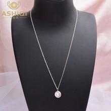 ASHIQI – collier avec pendentif en perles d'eau douce, grand bouton naturel, bijoux en argent Sterling 925, cadeau à la mode pour femmes, 12-13mm