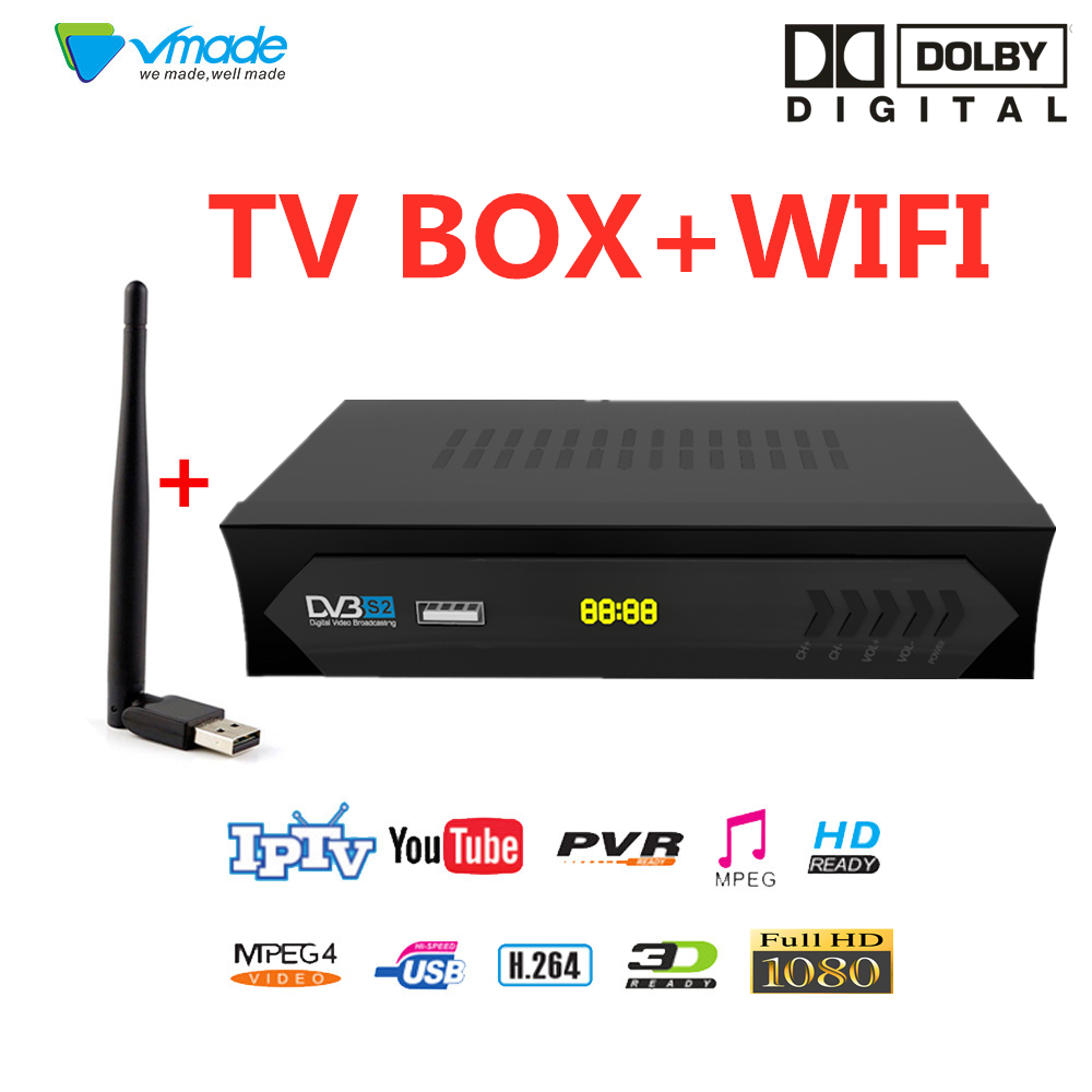 Vmade Hot-selling DVB S2 In Satellite TV Receiver Full HD H.264 Support YOUTUBE CCCAM Dolby Youporn IPTV Set Top Boxes With WIFI