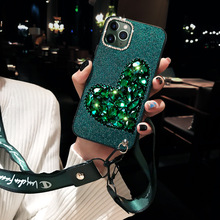 Dark green Rhinestone love Silica gel phone case For