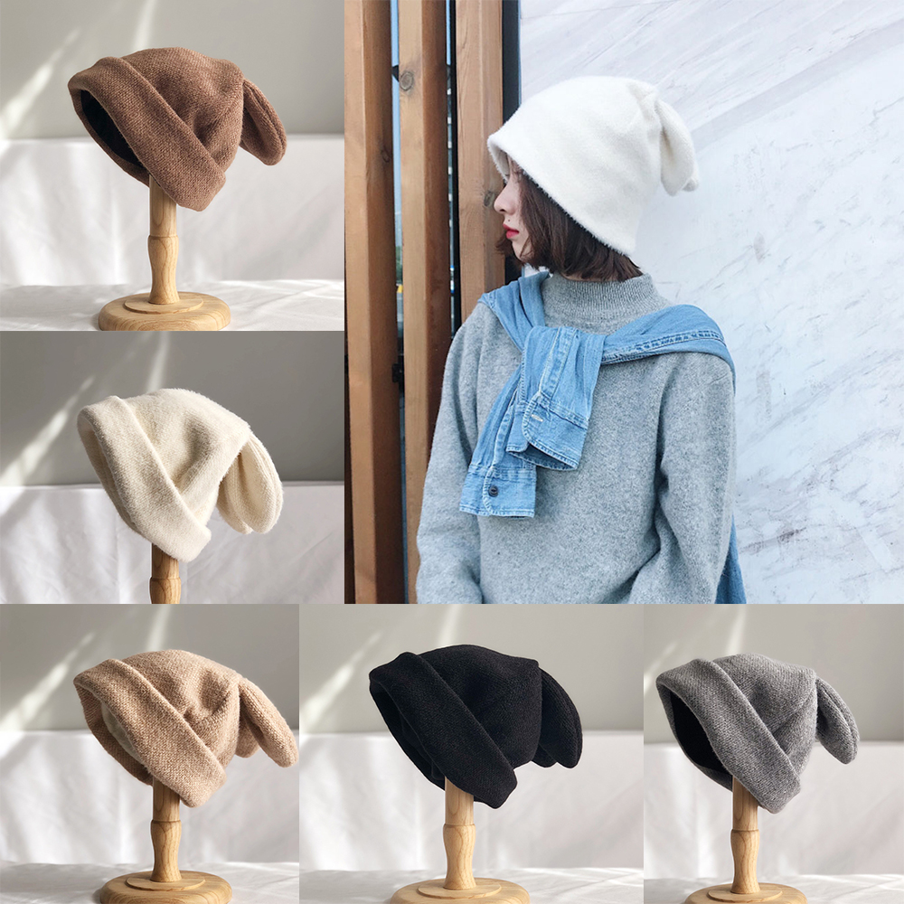 2021 New Fashion Draping Rabbit Ears Hats for Women Fur Winter Hats Knitted Beanie Cap Korean Solid Color Female Warm Balaclava