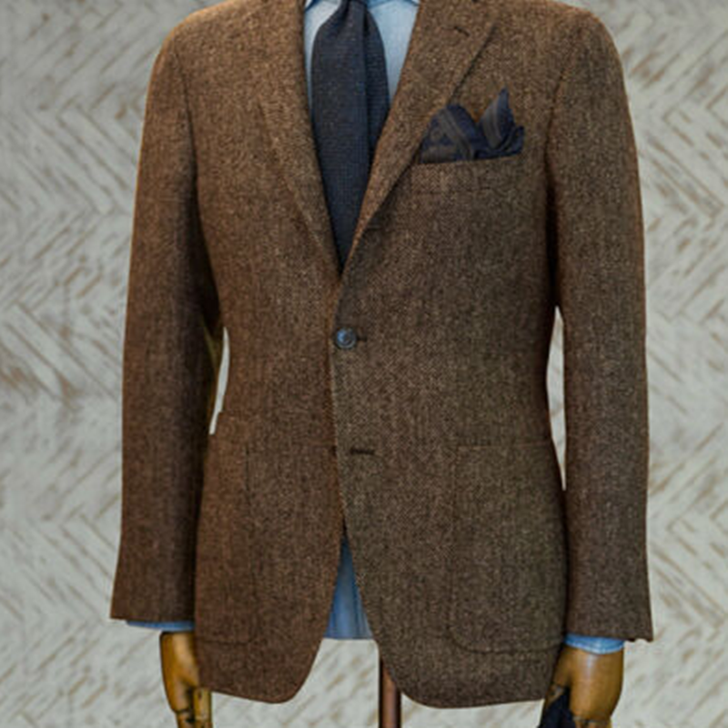 2020 Newest Coffee Tweed Herringbone Men's Suits Blazer Two Button Notch Lapel Tailored Fit