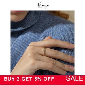 Image 2 - Thaya gümüş 925 takı yüzük altın yıldız parça raylı orijinal tasarım kadınlar için Bijoux kadın hediye güzel takı