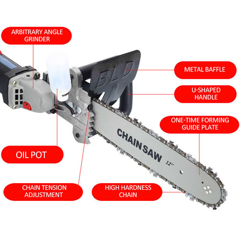 DIY เลื่อยโซ่ไฟฟ้า 11.5 นิ้วลูกโซ่ชุดเหล็กคาร์บอนสำหรับเครื่องบดมุม CHAIN SAW งานไม้เครื่องมือ
