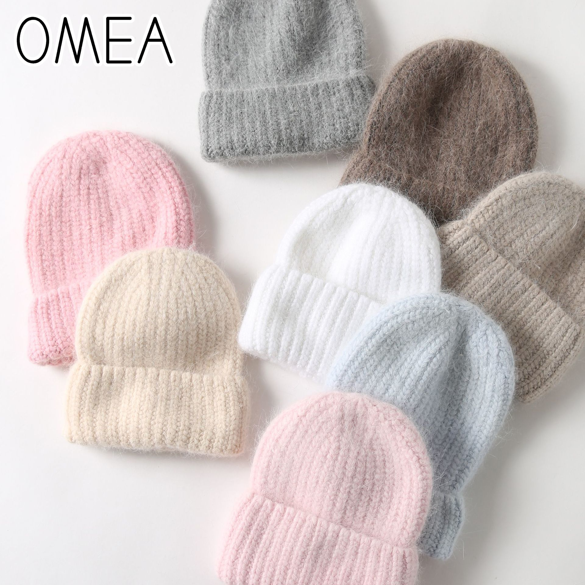 OMEA Angora Rabbit Fur Winter Hat Women Wool Hat Men Gift Fashion Knitting Cotton Hat Men Gift Beanie Cashmere Cap Solid Color