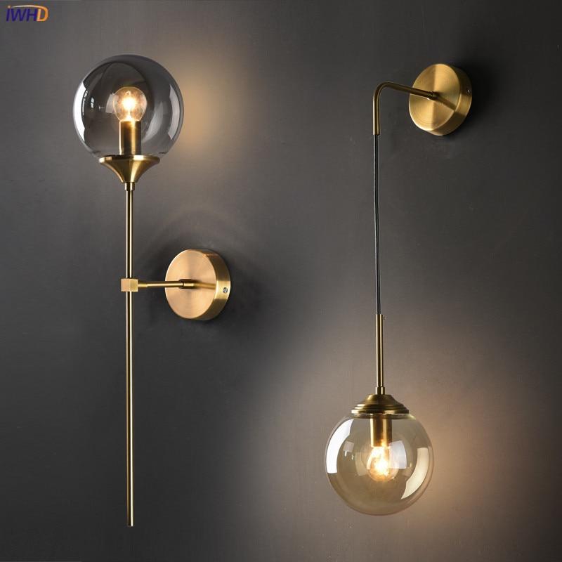 Nordic Modern Wall Lamp Beside Bedroom Glass Ball LED Wall Lights Fixtures Wandlamp Lighting Bathroom Mirror Stair Light (8)