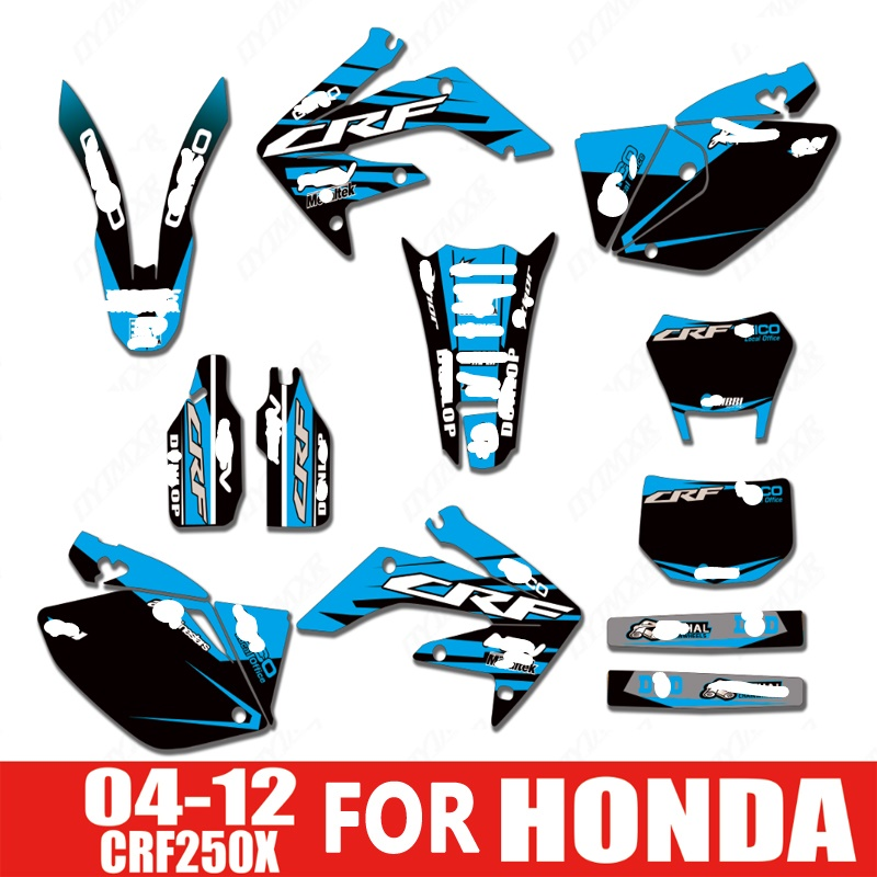 Free Customized Motorcycle Faring Graphics Sticker Kits Decal For Honda CRF250X 2004 - 2012 2005 2006 2007 2008 2009 2010 2010