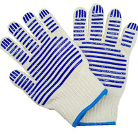 Currently Available Direct Selling Cotton Yarn High Temperature Gloves Double Layer Insulation Gloves Double Sided Silica Gel Mi