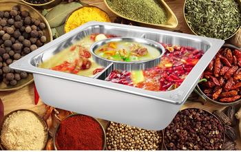 Stainless steel thickened square Sichuan Chongqing old hot pot mandarin duck pot solenoid cooker chafing dish double taste soup