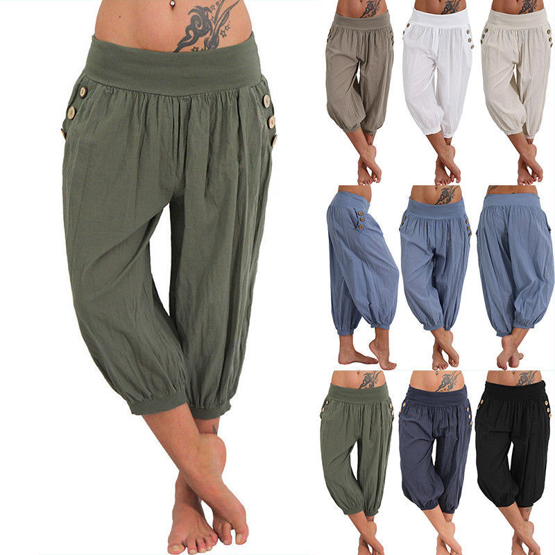 Women 5XL Plus Size Loose Pants Buttons Casual Elastic Low Waist Harem Pants Capris Female Solid Trousers Summer