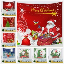цена на 44 Designs Christmas Tapestry Wall Hanging Santa Deer Snowman Pattern Bedroom Wall Art Picnic Blanket Christmas Decorations