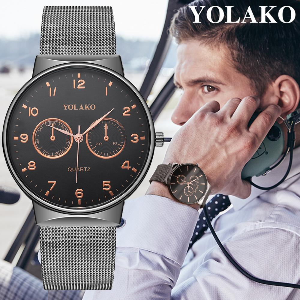 Man Watch 2019 Simple Digital Watches Ultra thin Mens Watches Stainless Steel Mesh Belt Quartz Wristwatches NEW