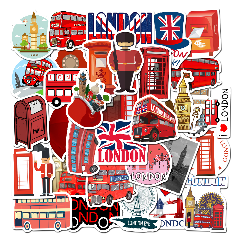 50 Pcs/Lot  London Red Bus Telephone Booth Waterproof Stickers For Laptop Motorcycle Skateboard Luggage Decal Toy Sticker