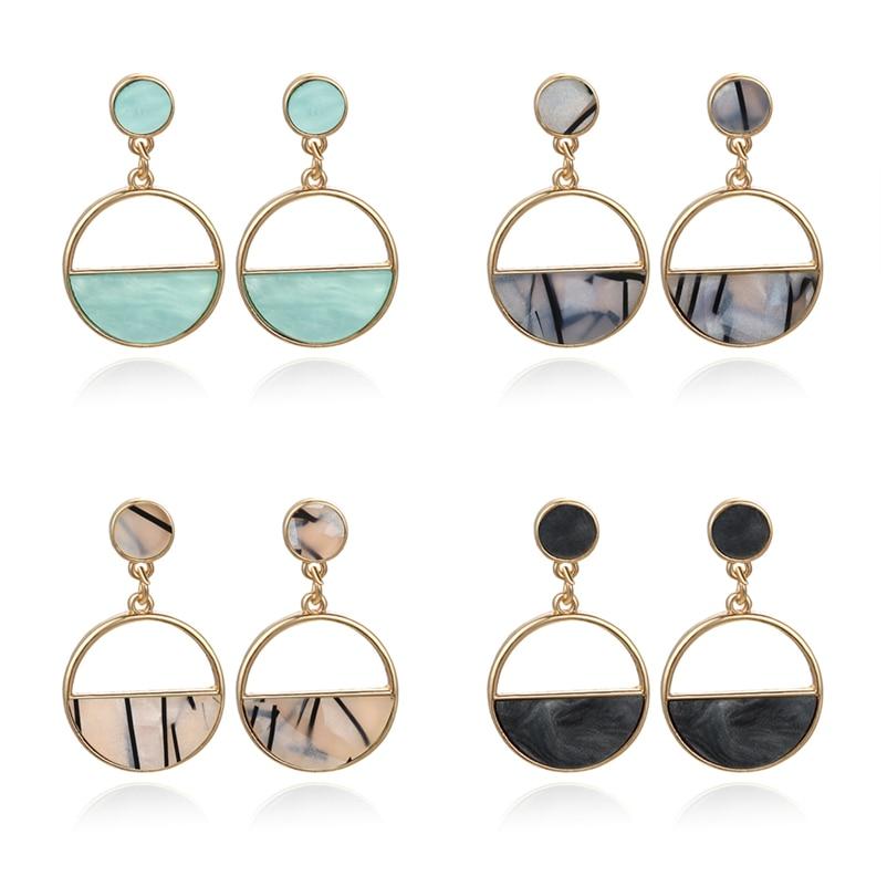 Pendientes de oro para Mujer, abalorio de Metal Simple, colgante geométrico hueco, Pendientes de gota, Pendientes para Mujer de Moda 2020