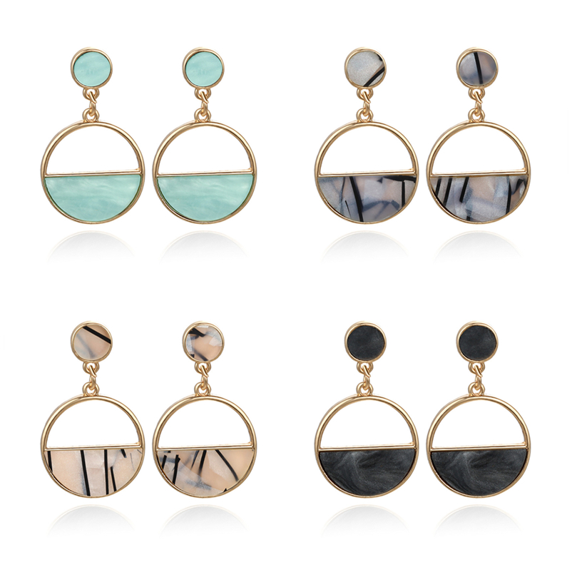 2020 New Women's Gold Earrings Metal Simple Charm Hollow Geometric Pendant Drop Earrings Pendientes Mujer Moda